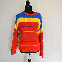 1980s Sweater / Rainbow Sweater / Big Chunky Sweater / Vintage Bright Sweater / Bright Red Rainbow Primary Colors Womens Sweater
