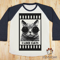 Funny Cat Glasses Shirt I like Cats T-Shirt Long Sleeve T-Shirt Unisex T-Shirt Women T-Shirt Baseball T-Shirt Raglan T-Shirt Size M