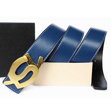 Boys & Men YSL Yves Saint Laurent Men Fashion Smooth Buckle Belt Leather Belt
