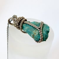Chrysocolla necklace, sterling silver wrapped pendant, natural jewelry, OOAK necklace