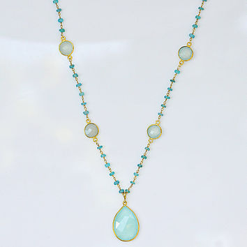 Large Natural faceted Aqua Chalcedony  Vermeil Gold bezel station long Apatite wire wrapped necklace - Seafoam Gemstone necklace