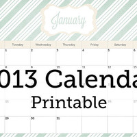 2013 Wall Calendar - Digital Printable PDF