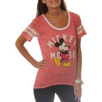 Disney Mickey Juniors Hi-Low Football Tee with Contrast Neckline - Walmart.com