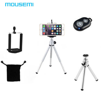 2in1 Universal Mini 360 Rotating Stand Tripod Mount Phone Holder Selfie Wireless Bluetooth Shutter Remote Control Camera Button
