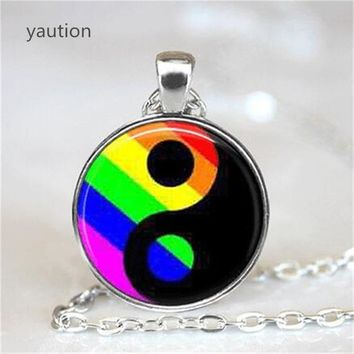 NECKLACE JEWELRY LGBT Gay Pride Ying Yang Pendant Necklace Ying Yang