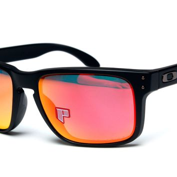 Oakley Mens Holbrook OO9102-51 Matte Black Ruby Iridium Sunglasses