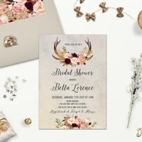 Printable Rustic Bridal Shower Invitation with Burgundy & Blush Floral Deer Antler, Bohemian Bridal Party Invite, Digital File