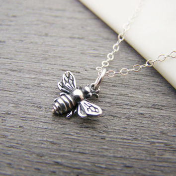 Bumblebee Tiny Sterling Silver Bee Necklace Simple Jewelry Everyday Necklace / Gift for Her