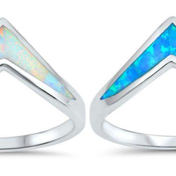 Sterling Silver 925 PRETTY POINTED V-SHAPE DESIGN LAB OPAL STONE RINGS SIZES5-10