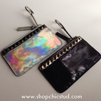 Studded Wallet Zip Pouch - Silver or Black Hologram Coin Purse