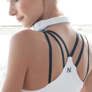 Strappy V Sports Bra - White