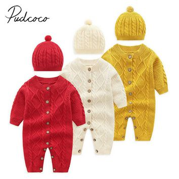 2019 Baby Autumn Winter Clothing Kids Baby Boys Girls Warm Infant Knitted Romper Jumpsuit Solid Clothes Sweater +Hat 2Pcs Outfit