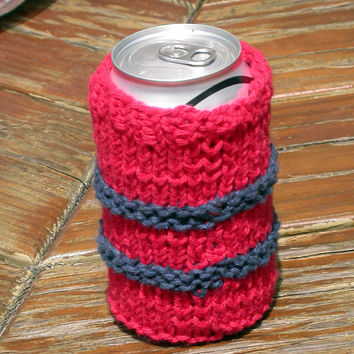 Beer, Soda, Beverage Can Cozy, Knitted, Red and Blue Cotton, Choose Blue, Red, Yellow, Magenta Pink, Multi Color, Great Summer Item