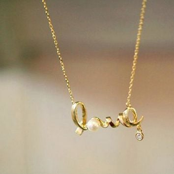 Love alphabetical collarbone chain personalized pendant pearl necklace female paragraph love necklace