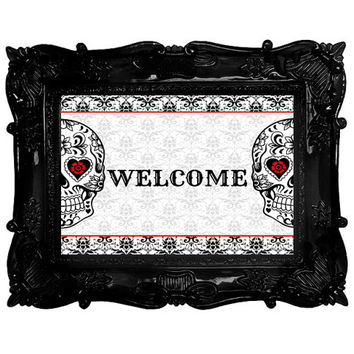 Skull Art Home Decor sugar skull Welcome sign red and black damask Day of the Dead Printable Download 8x10 wall art skulls
