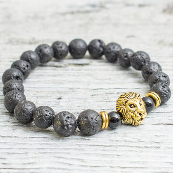 Black lava stone beaded gold Lion head stretchy bracelet, made to order yoga bracelet, mens bracelet, womens bracelet