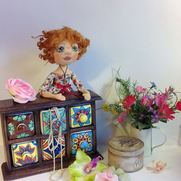 Art doll Cloth doll Cloth art doll Ginger doll Textile dolls Collecting doll Stuff doll Fabric doll Soft doll Rag doll Floral dress doll