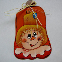 Scarecrow and Pumpkin Tole Painted Magnet