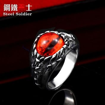 steel soldier exquisite evil eye ring 316l stainless steel ring punk men skull biker rock jewelry male gift
