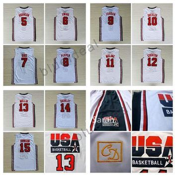 1992 USA Dream Team Jerseys Cheap 5 Robinson 6 Patrick Ewing 7 Larry Bird 8 Scottie Pippen 10 Clyde Drexler 11 Karl Malone 13 Chris Mullin 1
