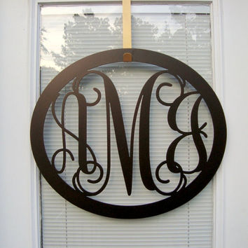 Initial Wreath, Monogram Wreath, Initial Door Hanger, Metal Monogram Door Hanger, Three Letter Wreath, Letter Door Hanger