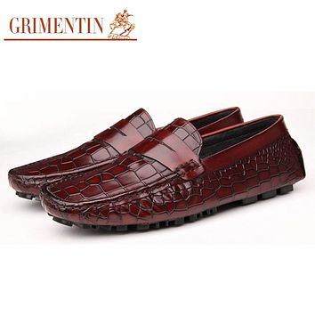 Men Loafers Brown Italian Fashion Genuine Casual Leather Men Shoes