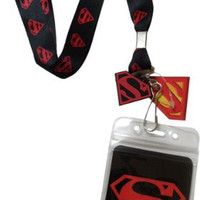 Lanyard with Charm DC Comics Superman Logo on Black Lanyard