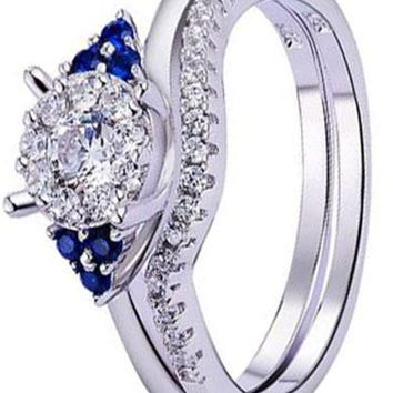 0.23 Carats Round Created Blue Sapphire 925 Sterling Silver Wedding Band Engagement Ring Sets