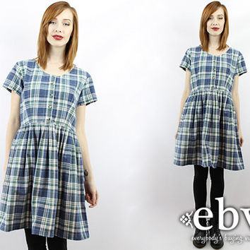 Vintage 90s Plaid Grunge Dress M L 90s Plaid Dress Plaid Mini Dress 90s Dress 90s Grunge Dress Blue Plaid Dress Babydoll Dress