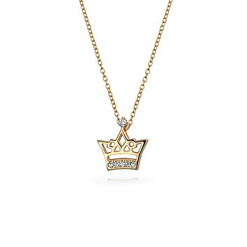 Princess Queen Bee Crown Pendant Rose Gold Plated 925 Sterling Silver