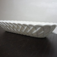 Vintage White Milk Glass Oval Celery Bowl/Dish - Lattice/Pretzel Pattern and Scalloped Edges