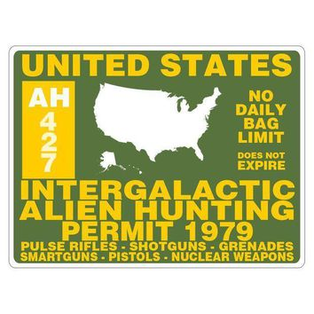 PEAPGQ9 Alien Hunting Permit Rectangular Decal Sticker