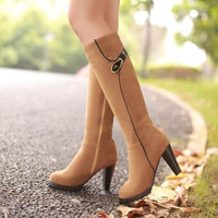Big size 34-43 hot 2015 new sexy thick heels knee high boots zipper fashion shoes autumn winter long riding boots for women = 1946496196
