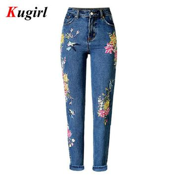 hot American Apparel BF Women Jeans High Waist Bird Floral 3D embroidery High Waist Ladies Straight Denim Pants Jeans Bottoms
