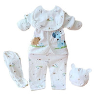 Newborn 0-3 Months Baby Boy Girl 5pcs Clothing Sets Cotton Cartoon Monk Tops Pants Bib Hats Infant Clothes SM6