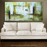 Original 36 x 72 large painting abstract art 6ft huge olive green modern painting by L.Beiboer FREE SHIPPING