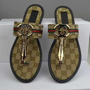 GUCCI Women Casual Fashion Flower Print Sandal Slipper Shoes