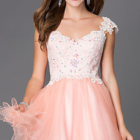 Short Cap Sleeve Dress with Lace Bodice