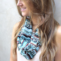 Chevron Scarf, Infinity Scarf, Circle Scarf, Eternity Scarf, Sea Green, Black, White, Rust, Mustard