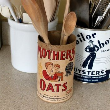 Antique Mother Oats cardboard canister kitchen decor by grayday