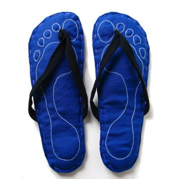 Footprints Fabric Flip Flop Sandals Home Slippers Royal by askidas