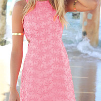 Pink Sleeveless Flower Print Bodycon Dress -SheIn(Sheinside)