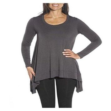 Lysse' Women's Long Sleeve Asymmetrical Graphite/Steel Grey Drape Top Shirt with Inner Control Tank - Medium