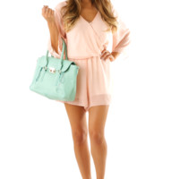 Locked Hearts Romper: Peach