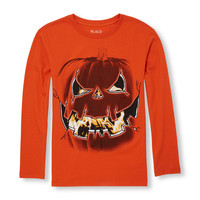 Boys Long Sleeve Jack-O-Lantern Graphic Tee | The Children's Place