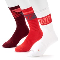 Nike 3-pack Dri-FIT Cushioned Crew Socks - Men, Size: 8-12 (Red)