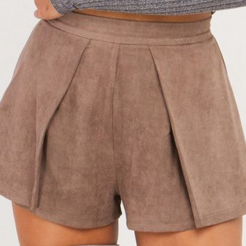 AKIRA Suede Pleated Flared Shorts in Tan