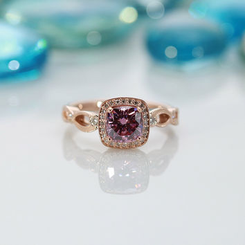 Charles & Colvard Limited Edition Rare Diamond Pink Cushion Moissanite and Diamond Halo Antique Filigree Exquisite Basket 14k Rose Gold Ring
