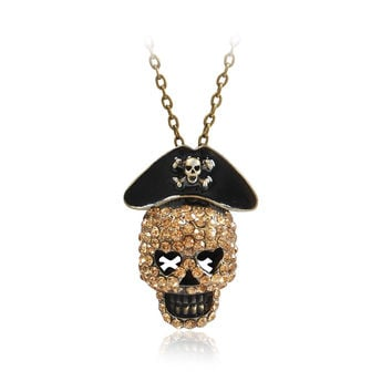 Pirate Skull Head Pendant Long Necklace Vintage Jewelry