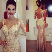 Sexy Prom Dress Mermaid 2016 Golden Pageant Wedding Dress Evening Formal Prom Ball Party Dress